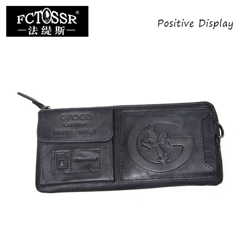 Sac à main en cuir véritable 2019 dame jour embrayage avec poche de téléphone portable porte-cartes à la main rétro Long portefeuilles femmes/hommes