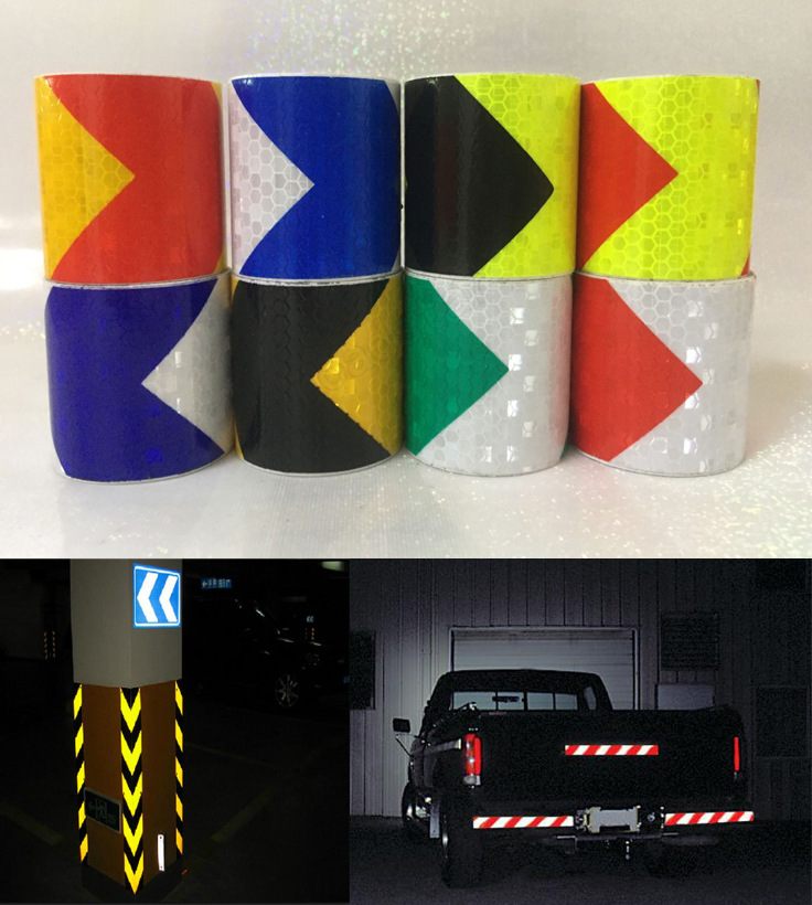 5CM*3M PVC Crystal Lattic Reflective Tape Car  Bar Two-color Warning Body Arrow Reflector Packing Self-adhesive