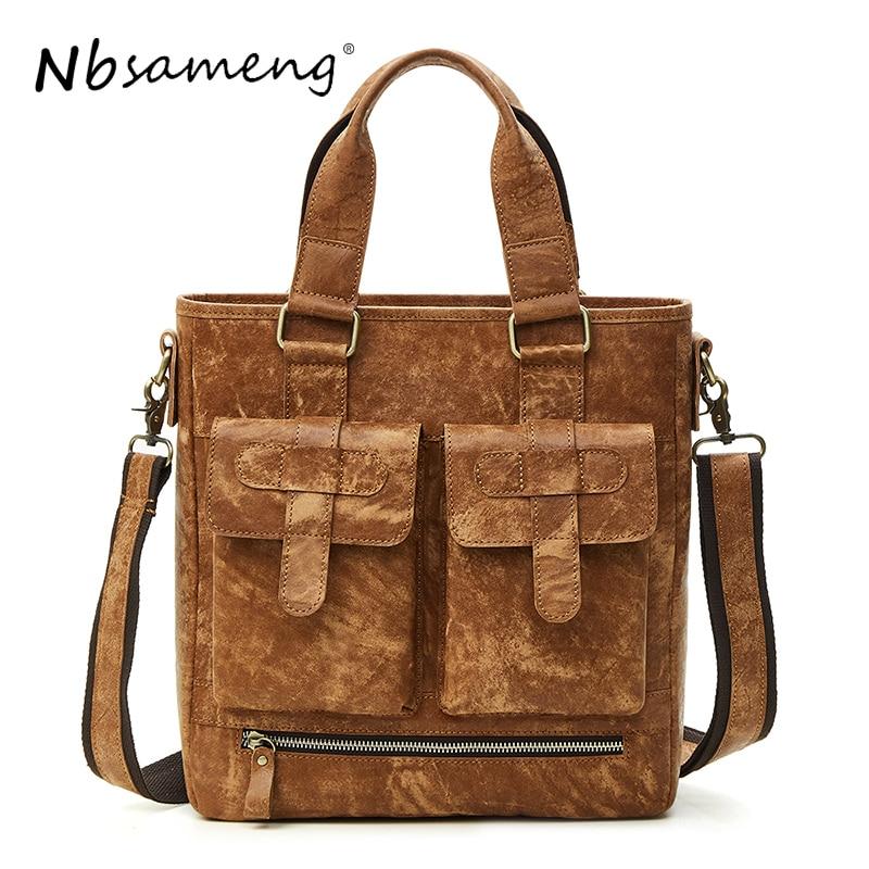 NBSAMENG 100% Genuine Leather Men Bags Fashion Men Casual Crossbody Handbags Messenger Bag Shoulder Business Men Briefcase