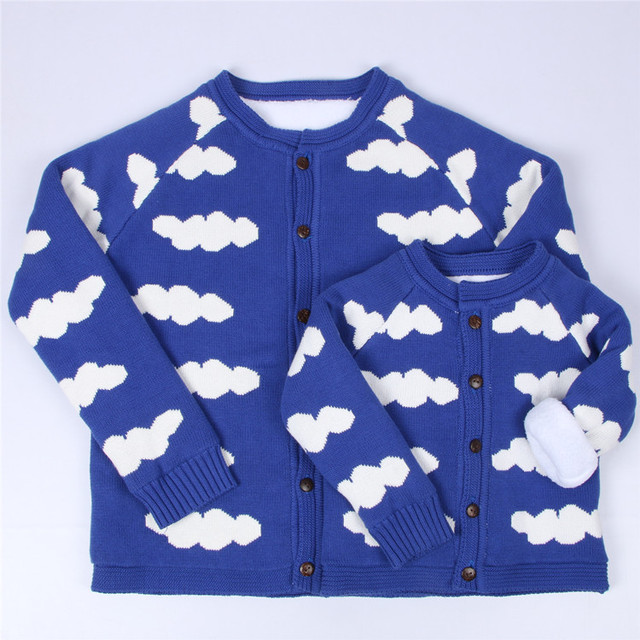 Baby Boys Girls Coat Parentting Clothes Spring Autumn  Plus Velvet Cotton Knit Sweater Jacket Mother And Daughte Clothing