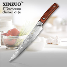 "XINZUO 8 "" cleaver knife 67 layers Japanese Damascus kitchen knife kithcen too senior Sashimi knife wood handle free shipping"