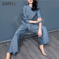 SISPELL Striped Two Piece Set Clothes For Women Button O Neck Long Sleeve Shirt Bow Lace