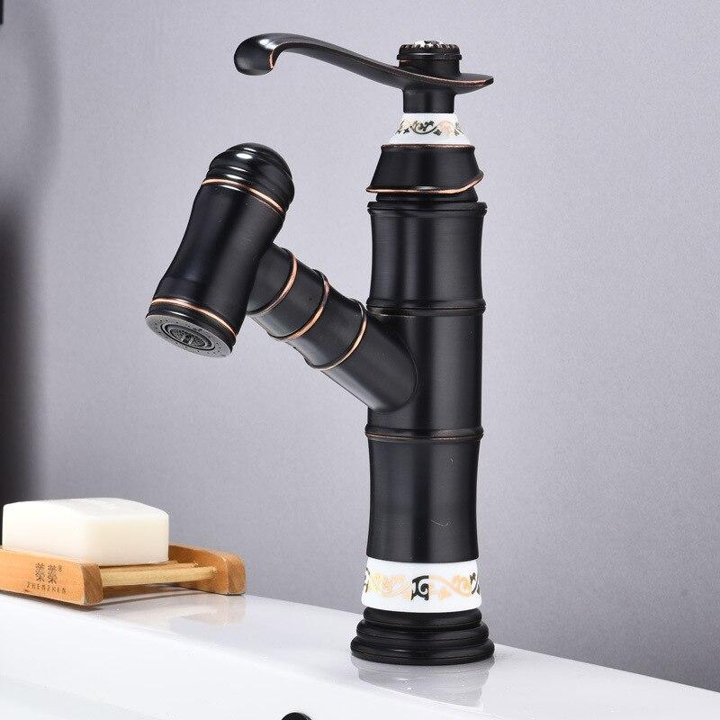 Nouilles à tirer cuivre robinet de lavabo noir ancien robinets de bassin mitigeur chaud et froid robinet d'eau tête de lavabo robinet télescopique
