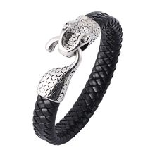 Punk Men Snake Head Bracelet Genuine Leather & Bangle Accessories charm Man Jewelry Fashion Bangles BB758