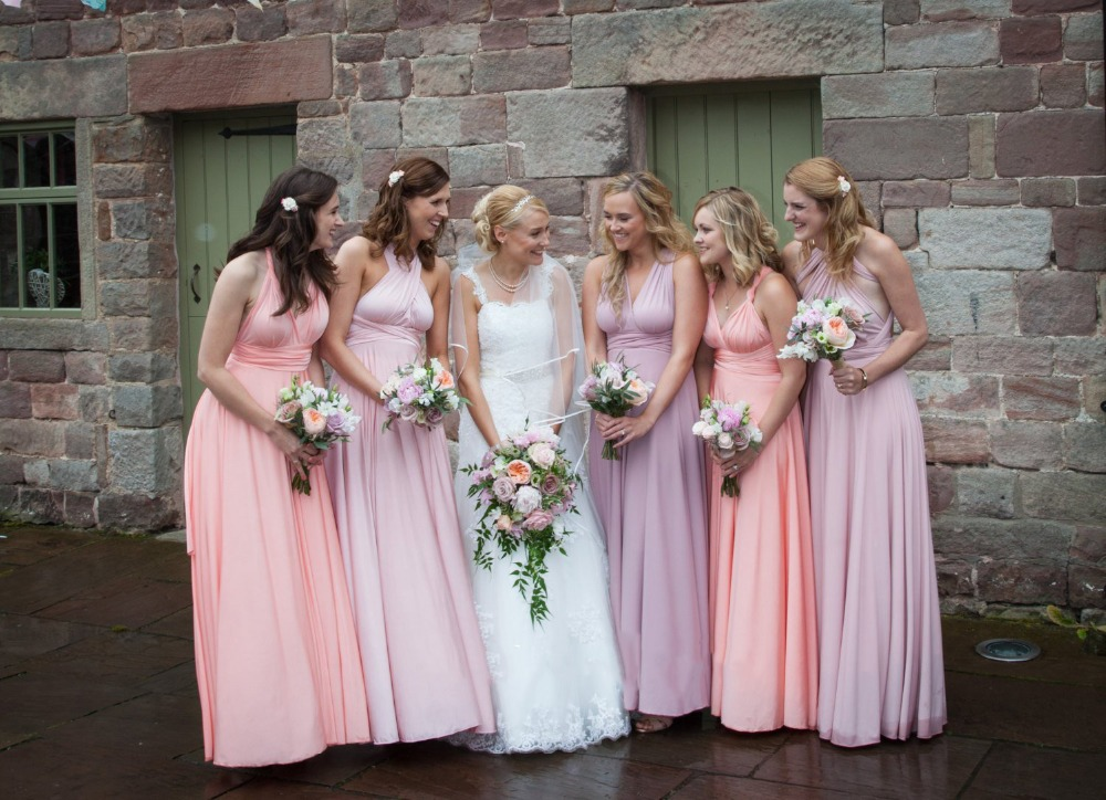 2019 New Simple   Bridesmaids     dress   Infinity   Dress   - floor length in dusty pink and coral rose colors matching tube top