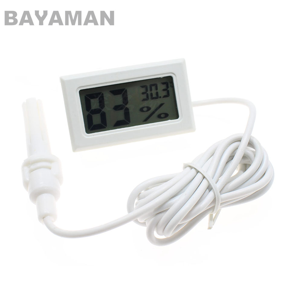 1pc Digital LCD Thermometer Hygrometer Mini Electronic Temperature Humidity Sensor Meter With Probe/Wire FY-12 mini 1 2 lcd digital thermometer w sensor probe yellow 1 x lr44