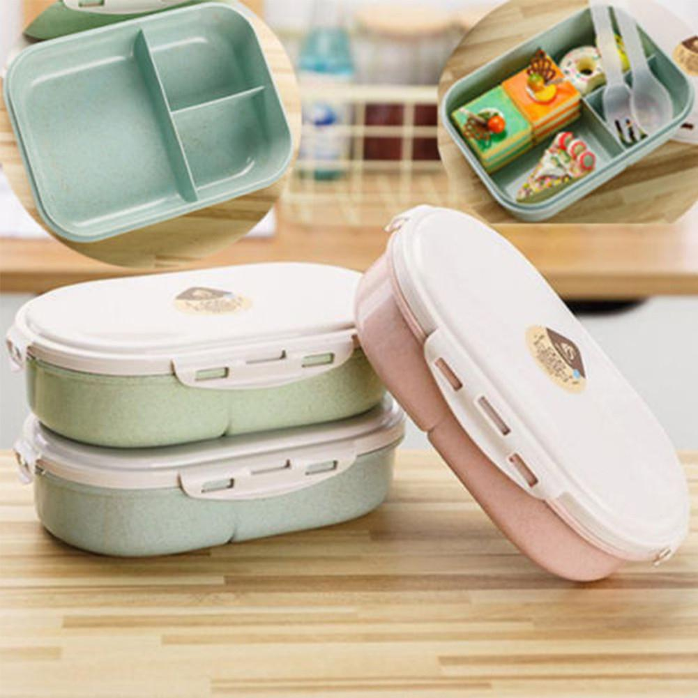 LanLan Bento Lunch Box Picnic Food Fruit Container Storage Box With Fork Spoon For Kids Adult