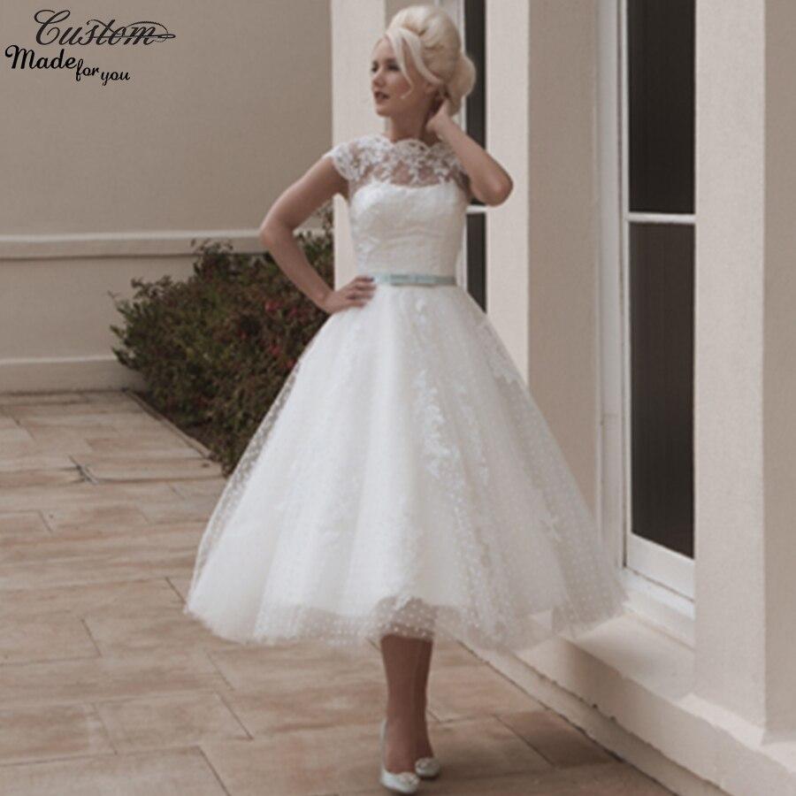 Popular Blue Tea Length Wedding Dresses-Buy Cheap Blue Tea Length ...