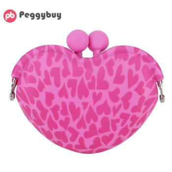 Sweet Women Girls Coin Purses Mini Heart Silicone Clip Key Coin Holder Purse Portable Wallets Cartoon Money Bags for Kids Gifts