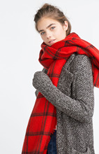 Fashion Women 2015 Red Black Striped Check Scarf Desigual Tartan Shawls Scarves Top Quality Soft Ladies Pashmina Scarf 200X85cm