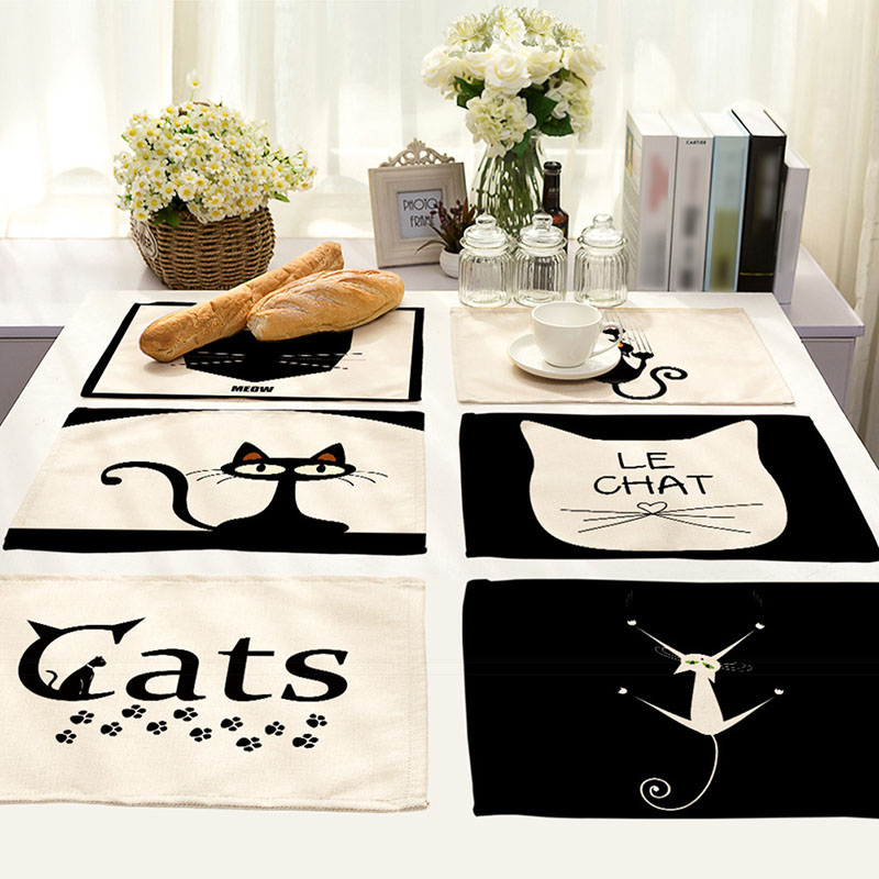 42x32cm Cartoon Cat Pattern Cotton Linen Western Pad Placemats Insulation Cloth Dining Table Mat Coasters Kitchen Accessories