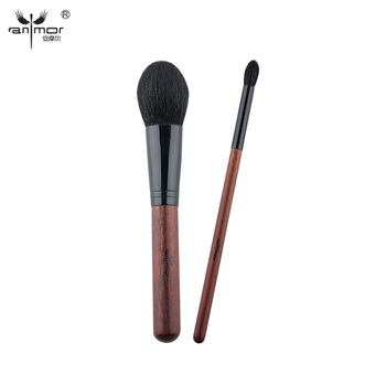 Anmor Pêlo de cabra Pincéis de Maquiagem Profissional Definida 2 Pedaço Macio Escova do Pó Escova De Mistura Excelente Kit Escova Da Sombra H20