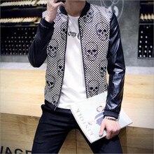 Скидки 2017 новых осенью мужская кожаная куртка скелет головы Кеке Ло сердце узор заклинаний цвет пальто Корейской Тонкий моды прилив