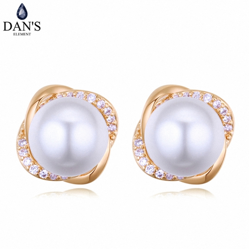 DANS 3 Colors Real Austrian crystals Stud earrings for women Earrings s New Sale Hot Round 128655
