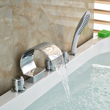 Polished Chrome Waterfall Spout Deck Mount Bathtub Faucet 5 Holes Widespread Tub Mixer Tap Faucet