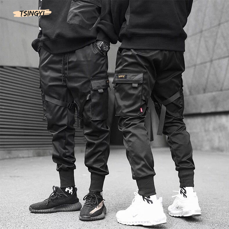 Tsingyi Men Ribbons Color Block Black Pocket Cargo Pants 2019 Harem Joggers Harajuku Sweatpant Hip Hop Multi-Pocket Trousers