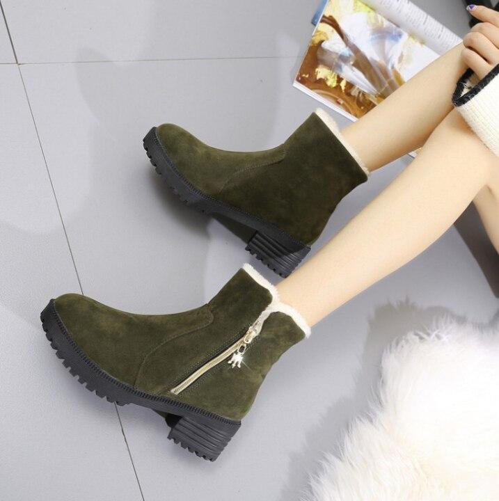 HUANQIU 2019 yarım çizmeler kadınlar kalın kış artı kadife sıcak pamuklu botlar dondurulmuş bootlar kadın ayakkabıları ZLL661