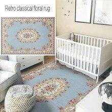 Alfombra de noche Vintage azul clásico floral, alfombra de sala de estar de gran tamaño, alfombra de mesa de centro de Decoración retro