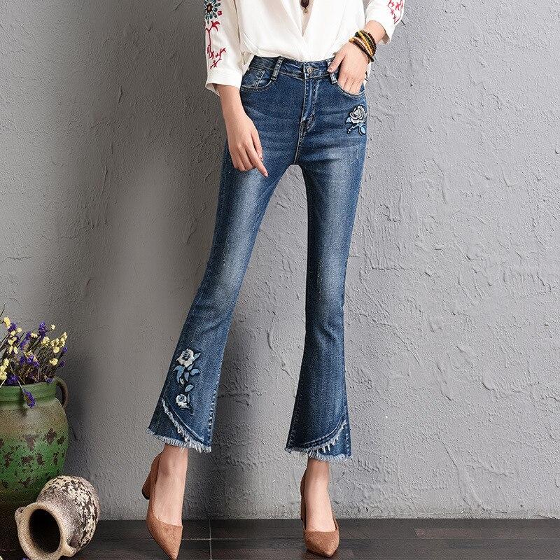 Ladies Denim Pant Suits Bell Bottom Flare Pants Denim Embroidery Elastic Ankle Jeans Push Up Women Fashion Retro Jeans Summer