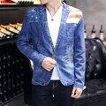 2017 denim suit men leisure suit young cowboy coat restoring ancient ways