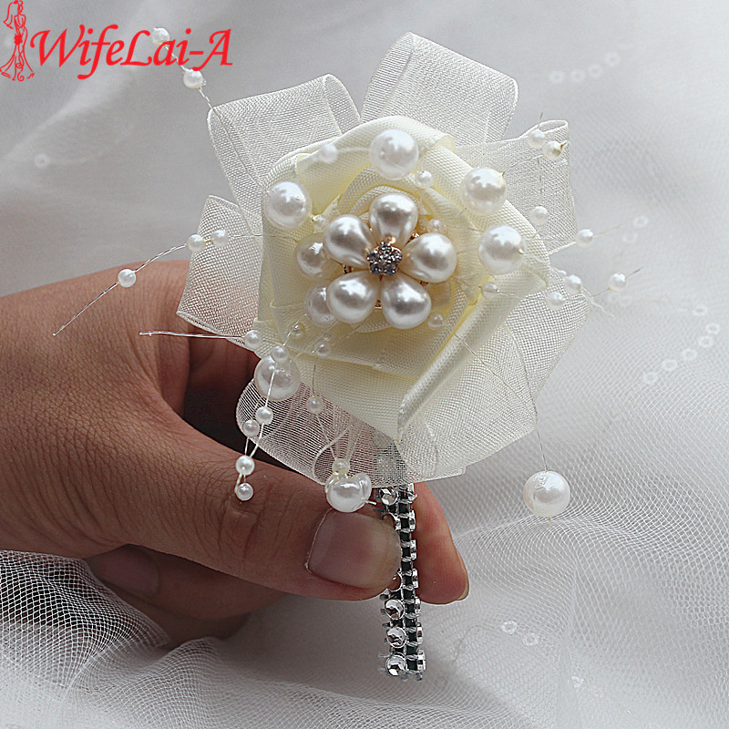 Handmade 1piece/lot Pearl Beaded Ivory Wedding Corsages Boutonniere Groom Boutonniere Wedding Flowers Brooch Flowers Pin