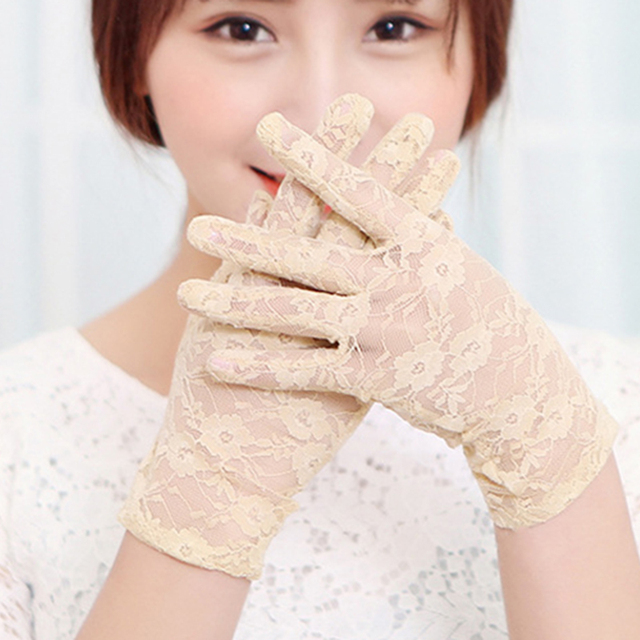 New Sexy Women Lace gloves Wrist full finger Ladies Evening Party Gloves sheer lace flower gloves mittens Black purple red 4