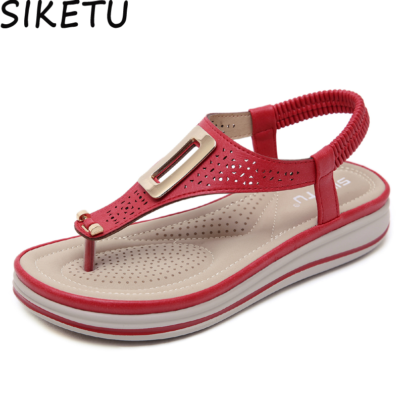SIKETU Women Thong Sandals Cut Out Hollow Metal Decro Ankle Strap Shoes Summer Beach Bohemia Boho Sandals Platform Wedge HeelsSIKETU Women Thong Sandals Cut Out Hollow Metal Decro Ankle Strap Shoes Summer Beach Bohemia Boho Sandals Platform Wedge Heels