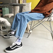 Fashionable Men's Jeans Spring And Autumn New S-2XL Solid Color Loose Trousers Black Sky Blue Personality Youth Popular fashionable women s pumps with black color and splicing design