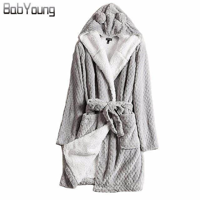 BabYoung Winter for Women Bathrobe Hooded Thick Warm Towel Flannel Cashmere  Sleepwear ac3766f35