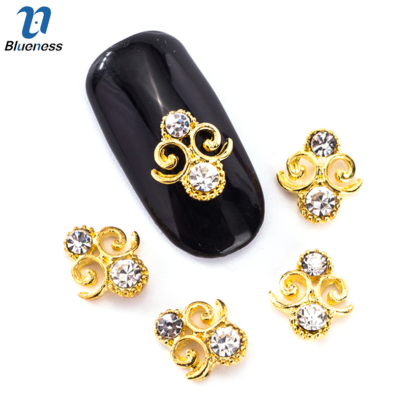 10Pcs/Lot 3D Charm DIY Special Design Gold Alloy Rhinestone Nail Art Accessory Manicure Jewelry Decoration For Nails Art TN2022 10pcs nail art stamping printing skull style stainless steel stamp for diy manicure template stencils jh461 10pcs
