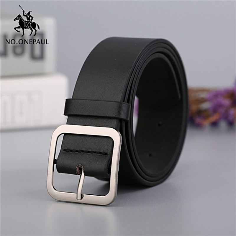 NO.ONEPAUL New fashion designer design ladies square buckle retro   belt   trend simple youth   belt   decoration casual Cowhide   belts