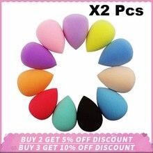 2PCS Soft Water Drop Shape Makeup Cosmetic Puff Sponge Blush Foundation Multi Sponges