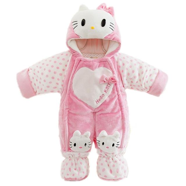 5-20 m del bebé de los mamelucos ropa de bebé hello kitty winter warm capucha mono monos de nieve trajes enfants muchachos de las muchachas ropa rosa