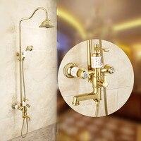 Vintage Zirconium Gold Brass Polished Shower Set Tap European Ceramic Copper Bathroom Shower Faucet Bathroom Accessories MB68