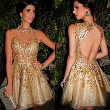 2019 Gold Illusion Tulle Lace Short Cocktail Dresses Backless Party Custom made