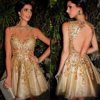 2019 Gold Illusion Tulle Lace Short Cocktail Dresses Short Backless Lace Party Dresses Custom made