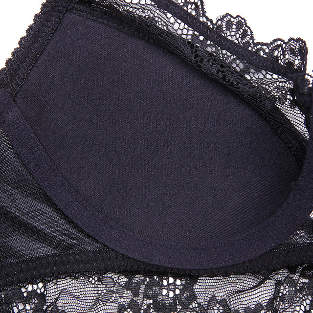 Sexy lace thin cotton cup breast bra set (bra+panty+garter belt +stocking) 4pieces/lots Lingerie Set