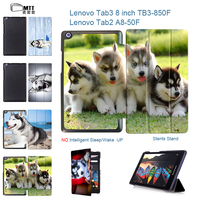 MTT Print Husky Dog Case For Lenovo Tab 3 8 Tab3 850F 850M PU Leather Cover