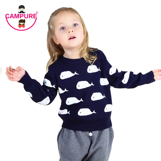 Baby Sweaters 2016 Spring Autumn Boys Girls Child Whale Pullover Sweaters 100% Cotton Clothes Knitted Animal Sweater BOBO Style