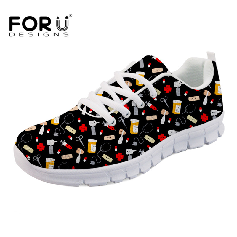 FORUDESIGNS Cute Cartoon Doctor Print Women Casual Black Flats Breathable Mesh Zapatos for Ladies Girls Light Weight Flat Shoes instantarts cute cartoon pediatrics doctor print summer mesh sneakers women casual flats super light walking female flat shoes
