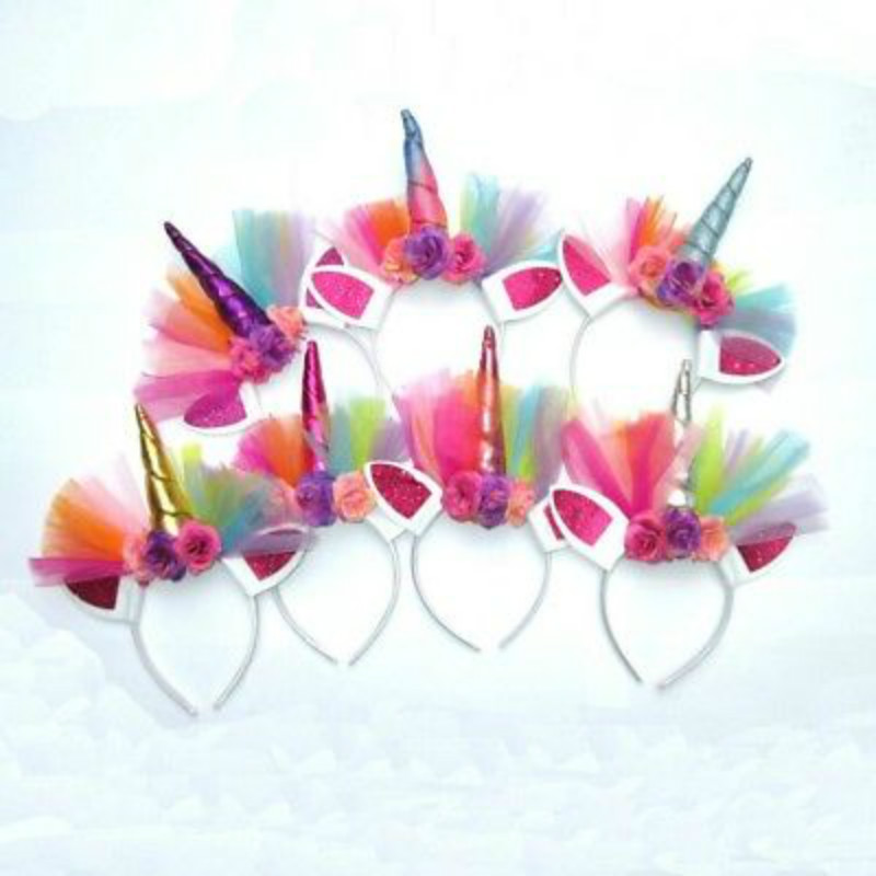 Magical Unicorn Horn Head Party Kid Hair Headband Fancy Dress Cosplay SE