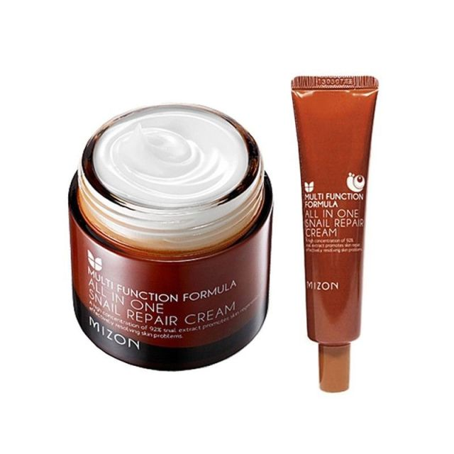 MIZON 1+1 All In One Snail Cream 75g + All In One Snail Cream Tube 35ml Facial Cream  Face Skin Care Set Korean Cosmetics