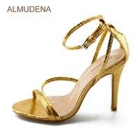ALMUDENA Gold Snakeskin Sandals Thin Strappy Python Sandals Thin High Heel Nightclub Girl S Dress Shoes
