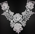 2 Pcs/Set Embroidered Lace Neckline Collar Trimming Embellishment Applique White Free Shipping NL070