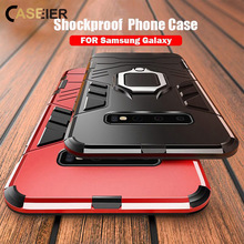 CASEIER 3 In 1 PC TPU Magnetic Car Back Cover Case For Samsung Galaxy A7 2018 s10e Finger Ring S10 S9 S8 plus