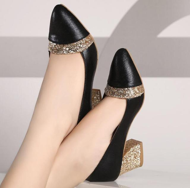 2018 Women Pumps Sweet Style Square High Heel sequins Pointed Toe Spring and Autumn Elegant Shallow Ladies Shoes Size 34-41 E058 3