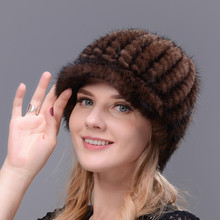 Real Fur Knitted Natural Mink Cap For Women Winter Avoid Wind And Snow Good Quality Female Peaked Ear Warm