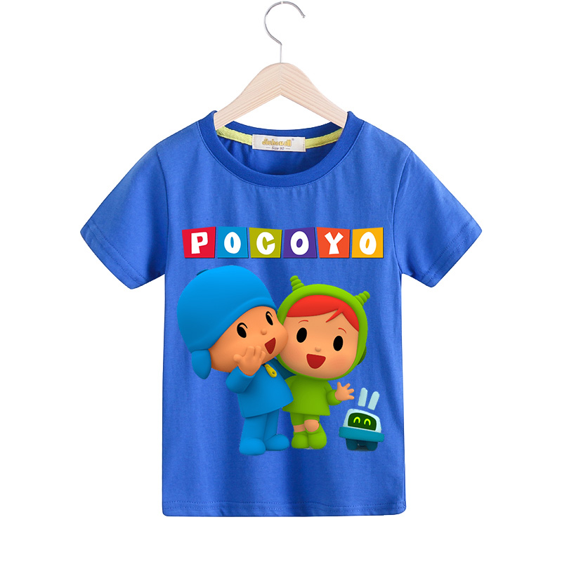 Boy Girls Summer 9 Colors Tee Tops Clothes For Kids 3D Cartoon Pocoyo Print T Shirt Clothing Children T-shirt Baby Costume TX076 3d florals print cover placket shirt