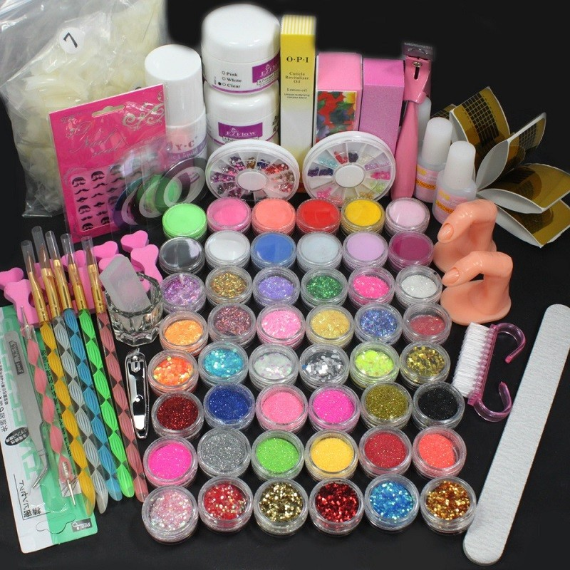 Hot Sale Acrylic Liquid Nail Art Brush Glue Glitter Powder Buffer Tool Set Kit Tips #NP138