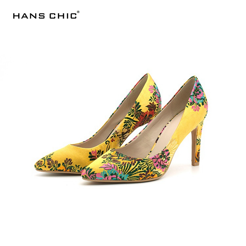 HANSCHIC 2017 New Arrival Chinese Yellow Embroidery Floral Retro Slip on Ladies Women High Heels Pumps Shoes for Female 1066-12 a three dimensional embroidery of flowers trees and fruits chinese embroidery handmade art design book